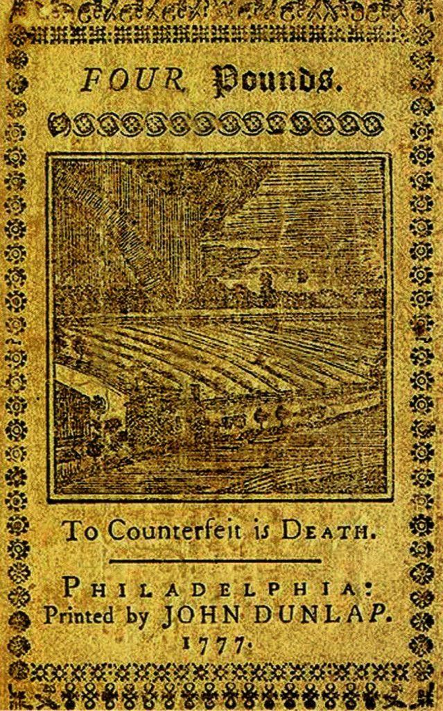 банкнота, выпущенная Филадельфией в XVIII веке
