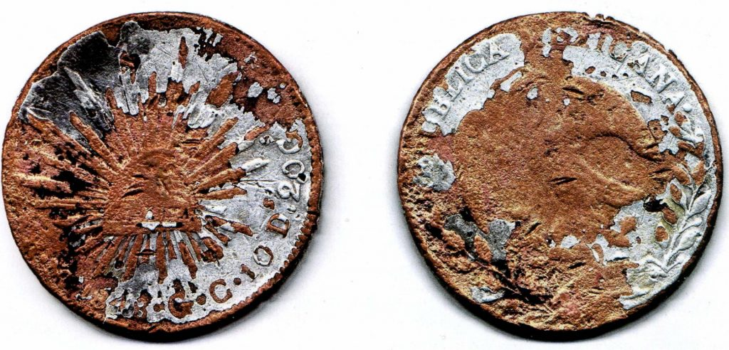 фальшивая мексиканская монета 1848 года номиналом 8 реалов