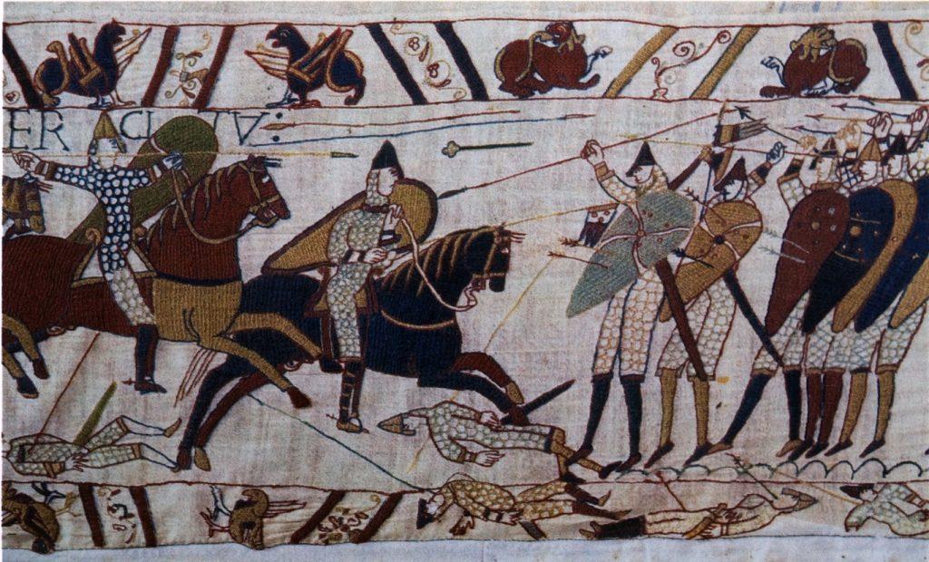 фрагмент гобелена из Байё (XII в.), на котором запечатлена история завоевания Британии