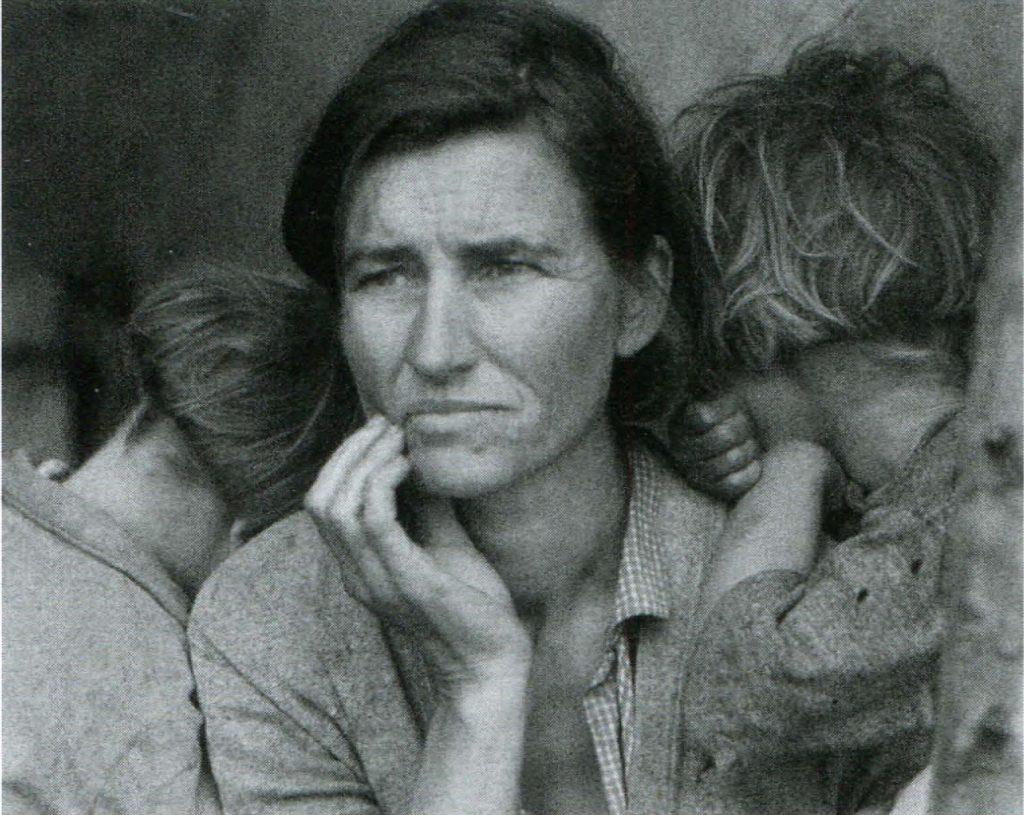 Семья сборщиков гороха во время кризиса