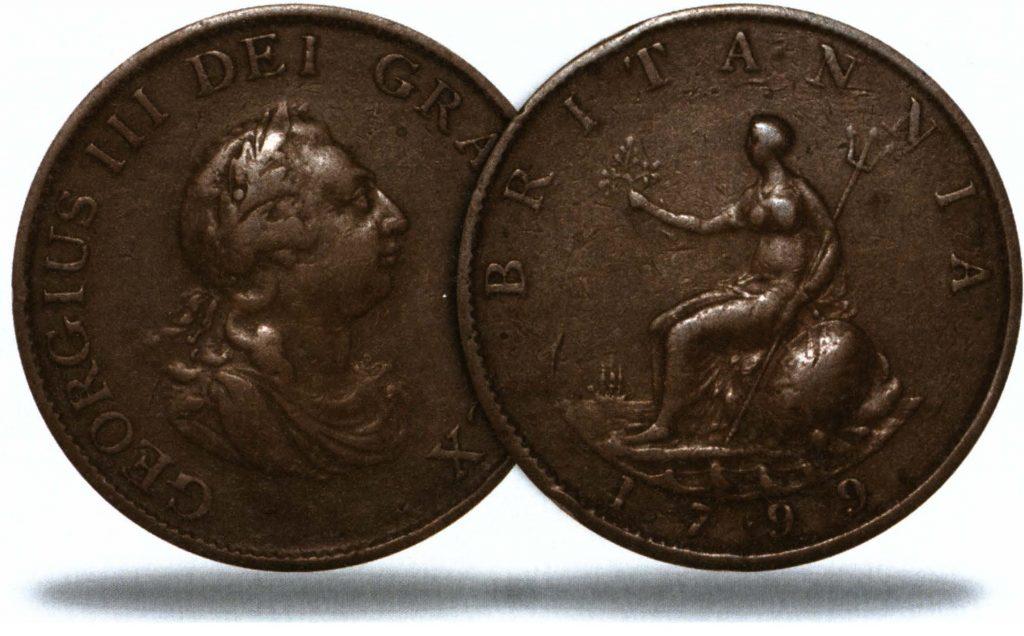 Банковские ограничения - медная монета ½ пенни 1799 года