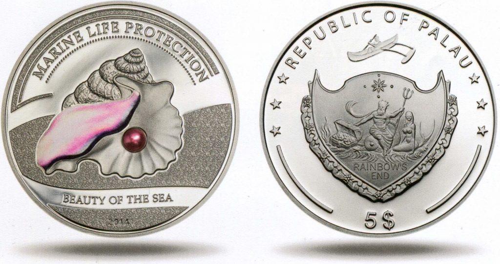 серебряная монета с розовой жемчужиной