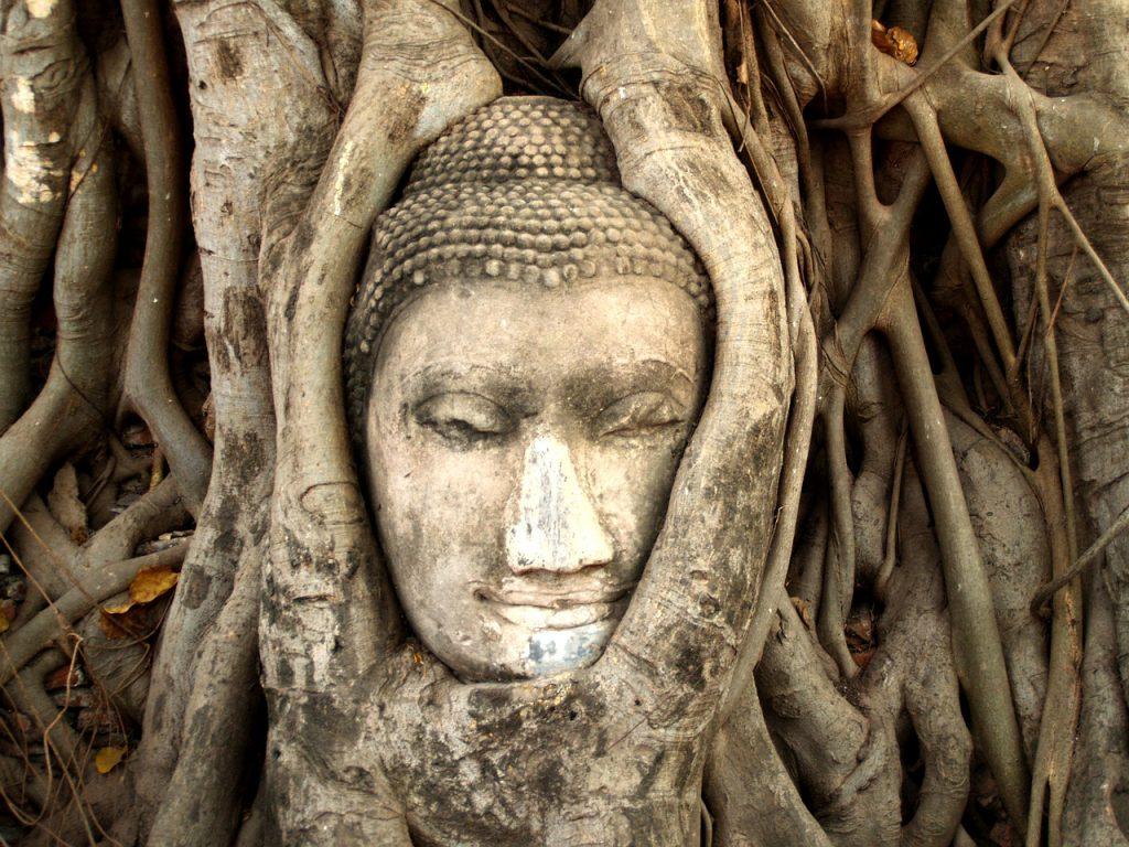 Королевство Таиланд - лицо Будды среди корней деревьев
