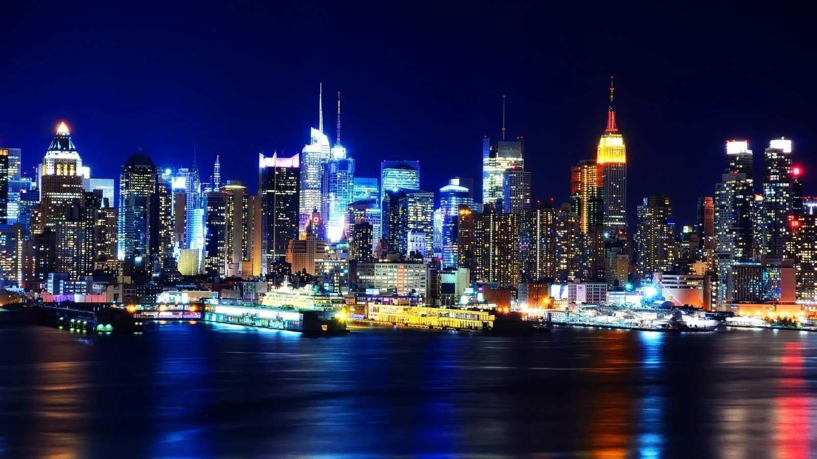 Фотография города Нью-Йорк ночью